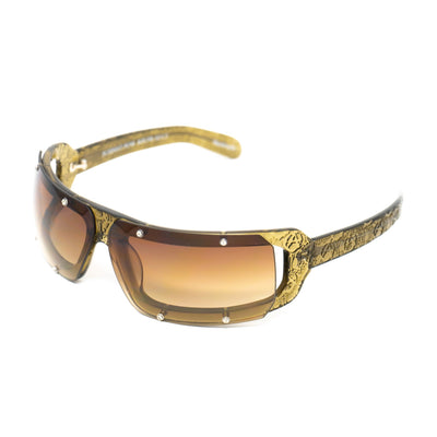 Buddhist Punk Sunglasses Rectangular Khaki With Brown Graduated Lenses Category 2 6BP2C3KHAKI - Watches & Crystals