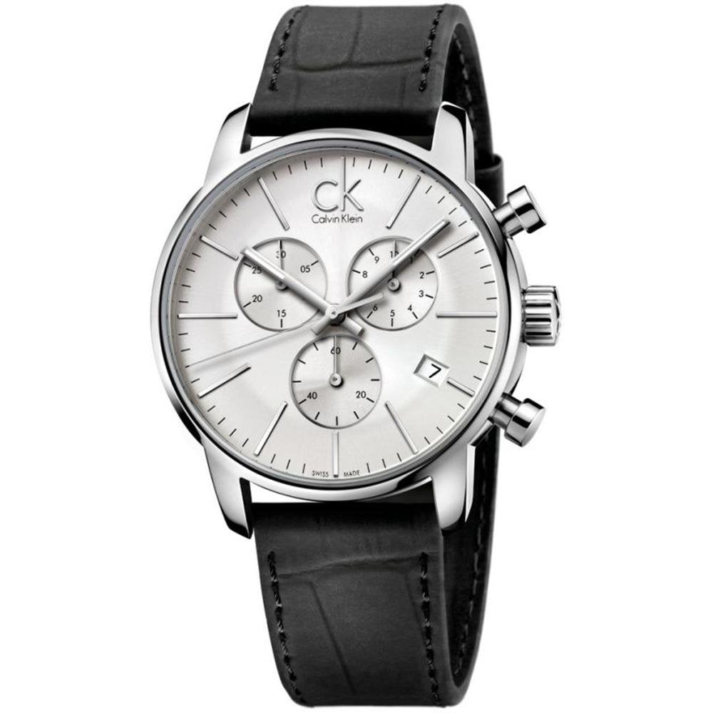 Calvin Klein City Chronograph Silver Leather - Watches & Crystals