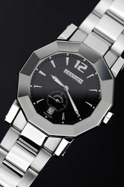 Century Sapphire Prime Time Ego COSC Chronometre Black Steel - Watches & Crystals