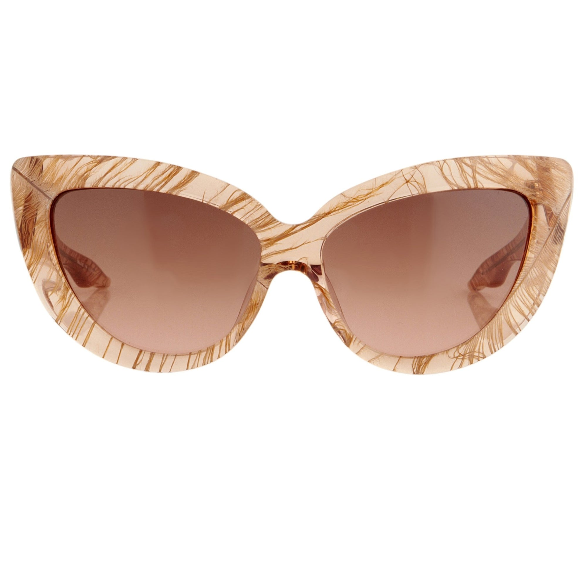 Charlotte Olympia Sunglasses Cat Eyes Peach Clear Champagne Feather CO1C3SUN - Watches & Crystals