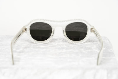 David David Sunglasses Oval Solid White Crystal With Dark Grey Lenses Category 3 9DAVID1C2WHITE - Watches & Crystals