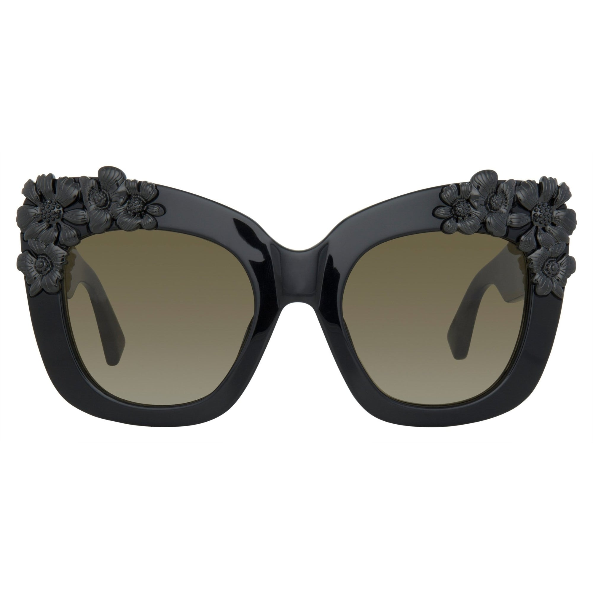 Erdem Women Sunglasses Cat Eye Black Flower with Grey Graduated Lenses Category 3 EDM24C4SUN - Watches & Crystals