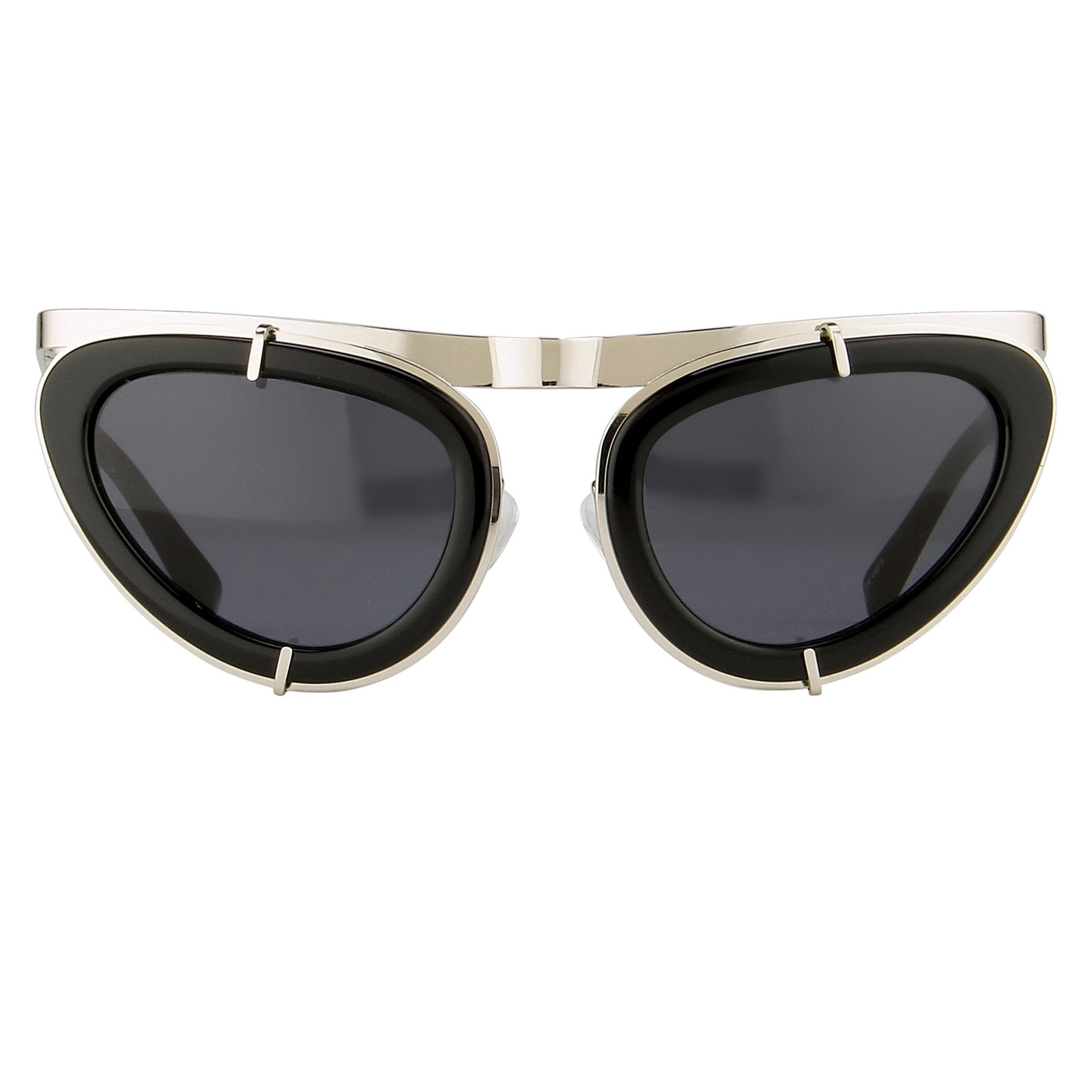 Erdem Women Sunglasses Cat Eye Black Shiny Silver with Grey Lenses Category 3 EDM3C6SUN - Watches & Crystals