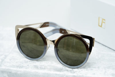 Erdem Women Sunglasses Cat Eye Blue Brown Gradient Light Gold with Brown Lenses Category 3 EDM4C10SUN - Watches & Crystals