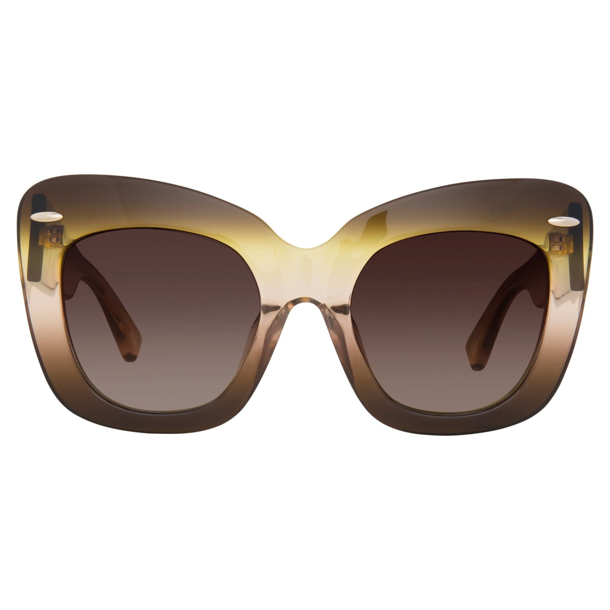 Erdem Women Sunglasses Cat Eye Brown Gradient Light Gold with Brown Graduated Lenses EDM24C2SUN - Watches & Crystals