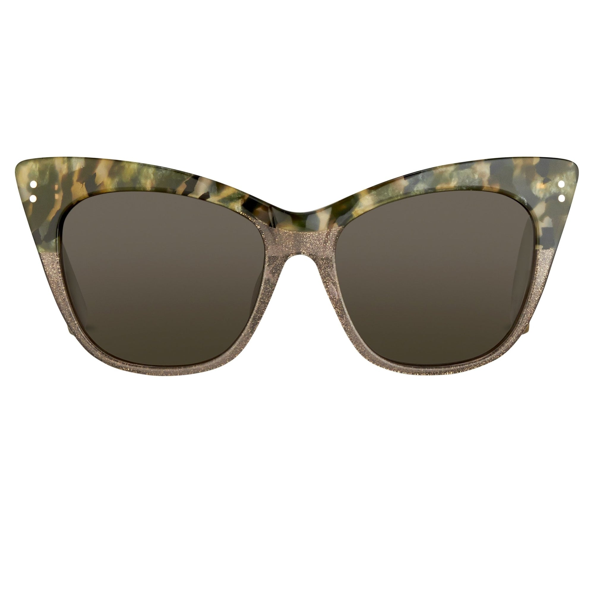 Erdem Women Sunglasses Cat Eye Marble Grey Glitter Silver with Grey Lenses Category 3 EDM22C3SUN - Watches & Crystals