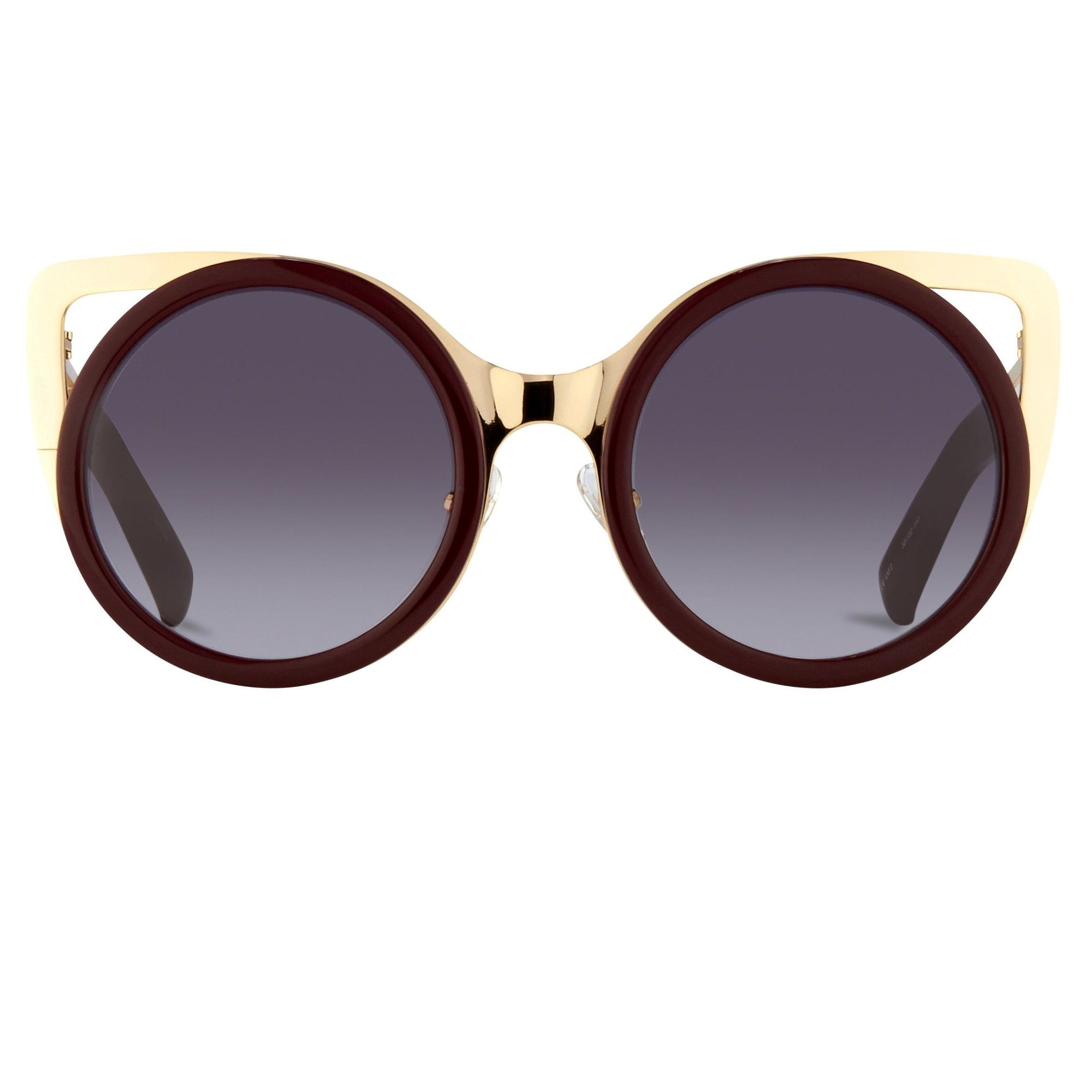 Erdem Women Sunglasses Cat Eye Maroon Light Gold with Grey Graduated Lenses EDM4C8SUN - Watches & Crystals