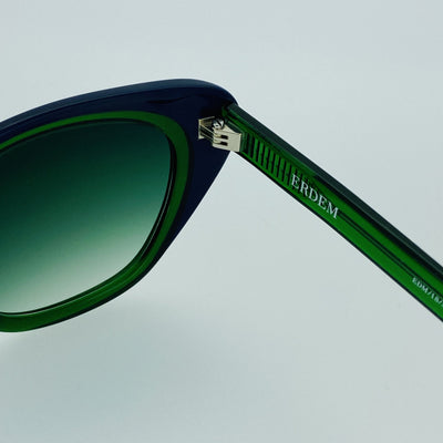 Erdem Women Sunglasses Cat Eye Navy Green with Green Gradient Lenses Category 3 EDM18C3SUN - Watches & Crystals