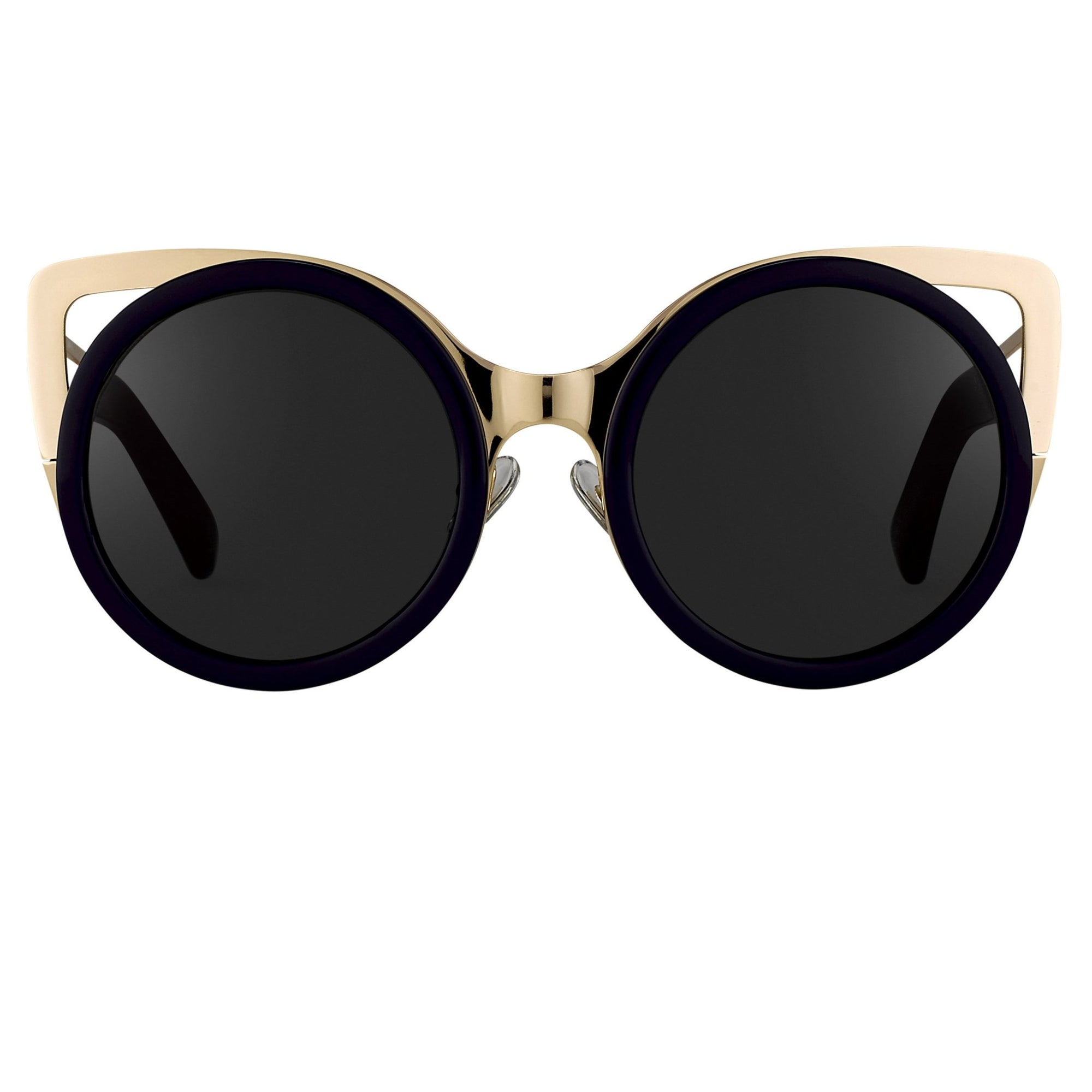 Erdem Women Sunglasses Cat Eye Navy Light Gold with Grey Graduated Lenses Category 3 EDM4C5SUN - Watches & Crystals