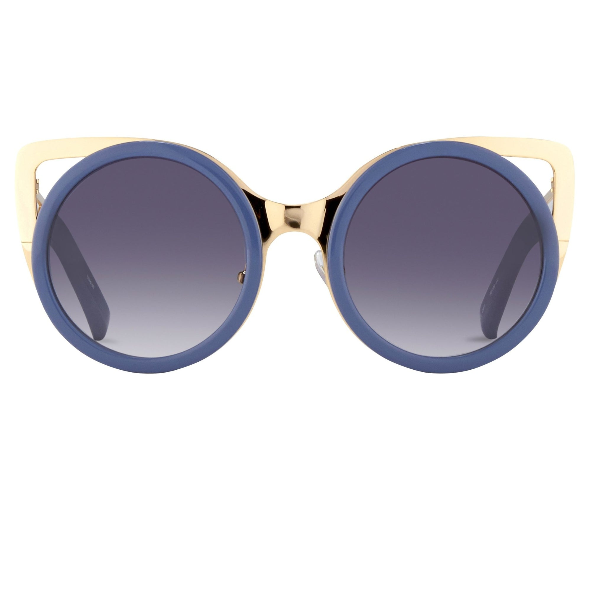 Erdem Women Sunglasses Cat Eye Slate Blue Light Gold with Grey Graduated Lenses EDM4C7SUN - Watches & Crystals