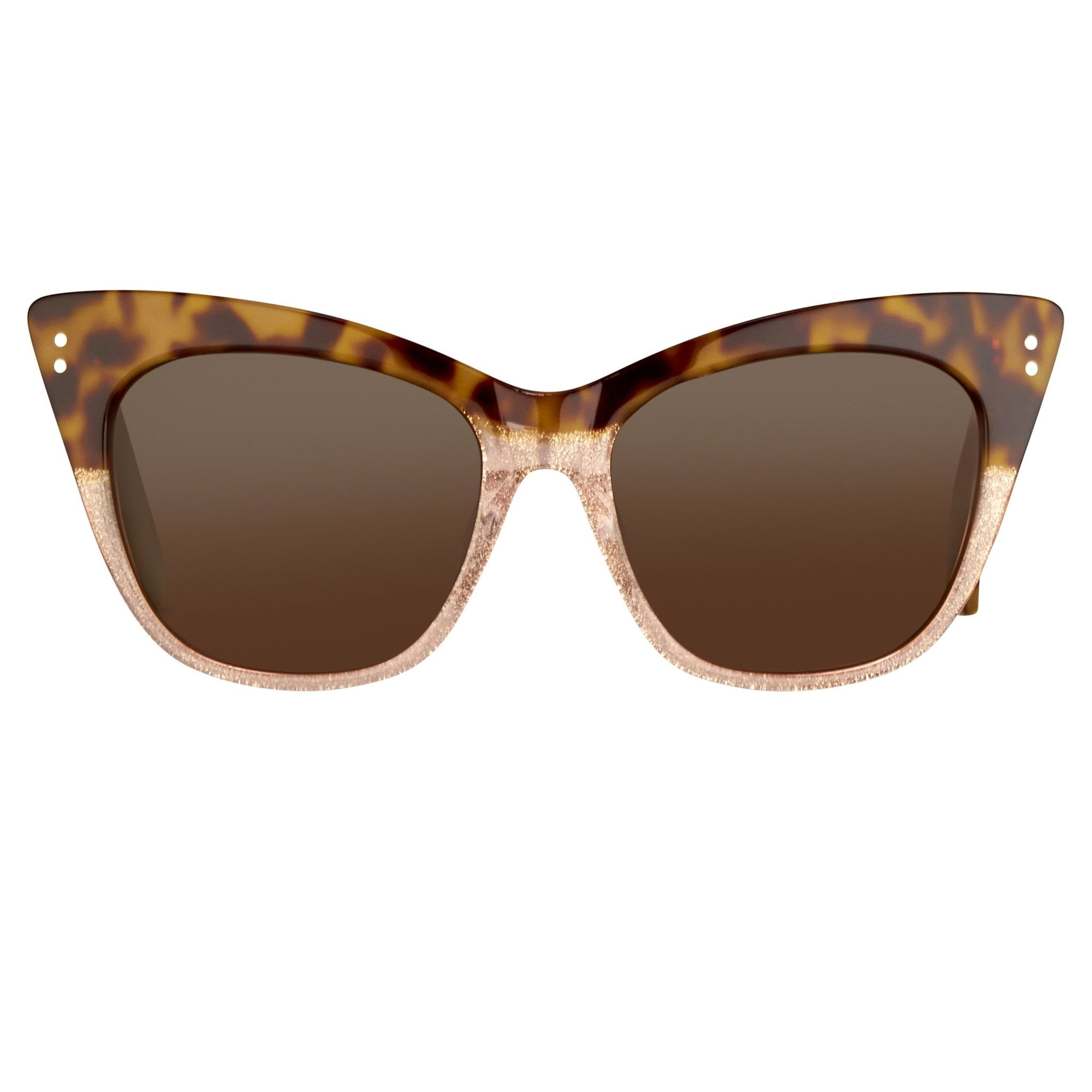 Erdem Women Sunglasses Cat Eye Tortoise Shell Rose Glitter with Brown Lenses Category 3 EDM22C1SUN - Watches & Crystals