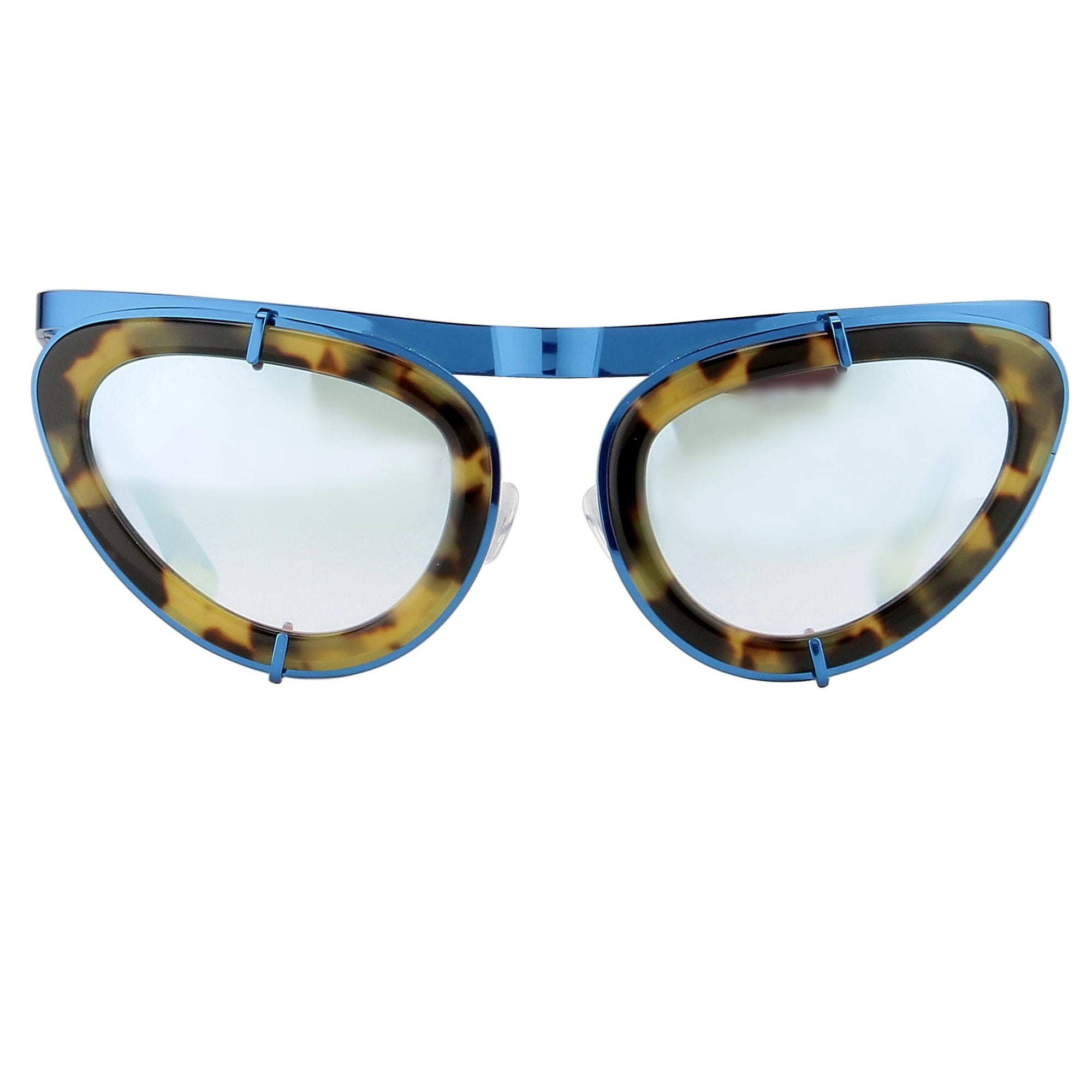 Erdem Women Sunglasses Cat Eye Tortoiseshell/Blue and Blue Mirror Lenses - EDM3C3SUN - Watches & Crystals