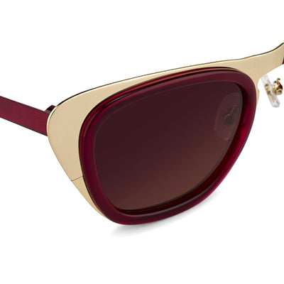 Erdem Women Sunglasses Cat Eye Transparent Burgundy Gold with Maroon Lenses Category 3 EDM17C4SUN - Watches & Crystals