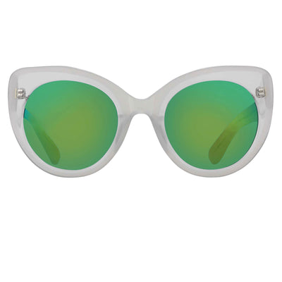 Erdem Women Sunglasses Cat Eye Transparent Ivory with Green/Blue Mirror Lenses Category 3 EDM14C3SUN - Watches & Crystals