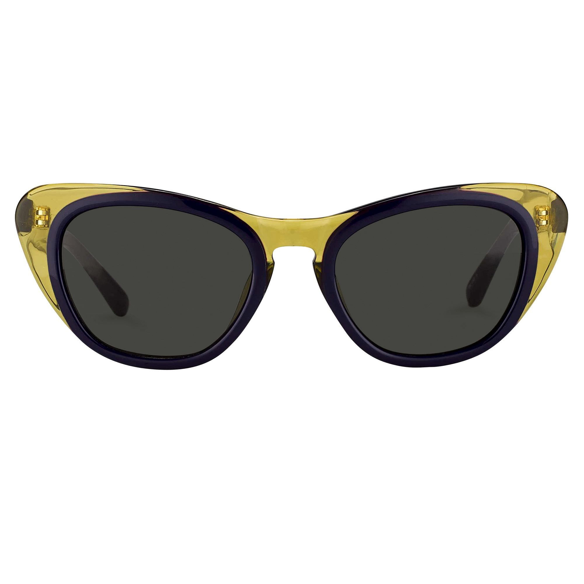 Erdem Women Sunglasses Cat Eye Transparent Ochre Purple with Grey Lenses Category 3 EDM18C2SUN - Watches & Crystals