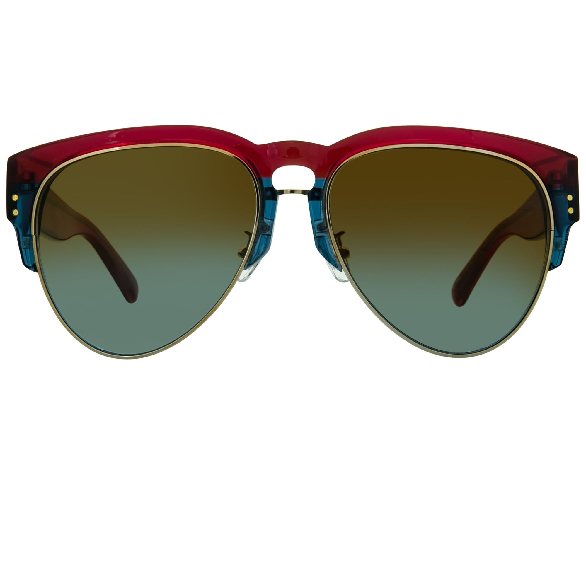 Erdem Women Sunglasses Maroon Navy Light Gold with Brown Blue Graduated Lenses EDM25C1SUN - Watches & Crystals