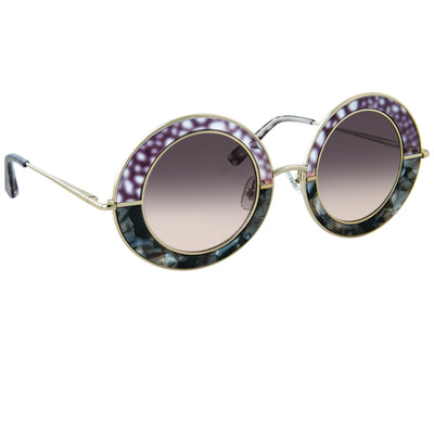 Erdem Women Sunglasses Oval Grey Pearl Purple Gold with Maroon Graduated Lenses EDM27C2SUN - Watches & Crystals