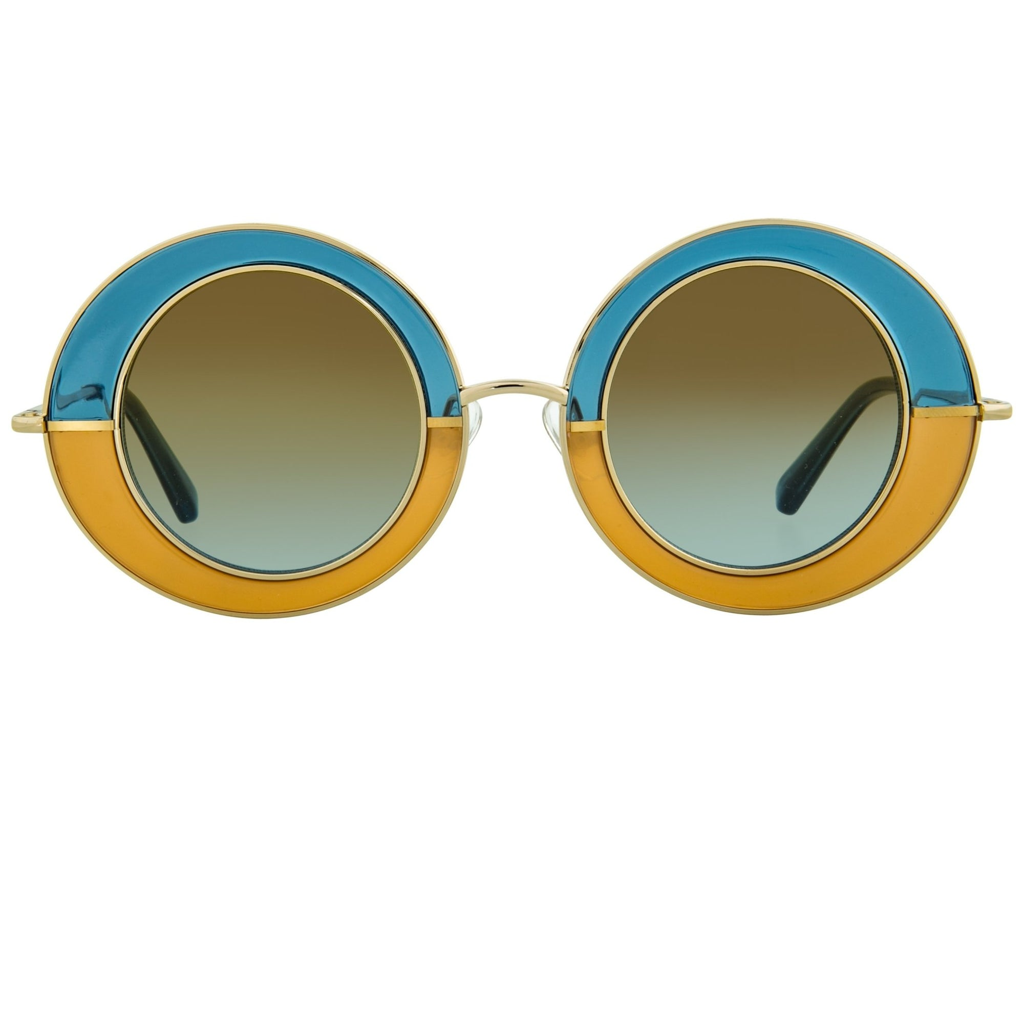 Erdem Women Sunglasses Oval Transparent Blue Amber Gold with Brown Blue Graduated Lenses EDM27C1SUN - Watches & Crystals