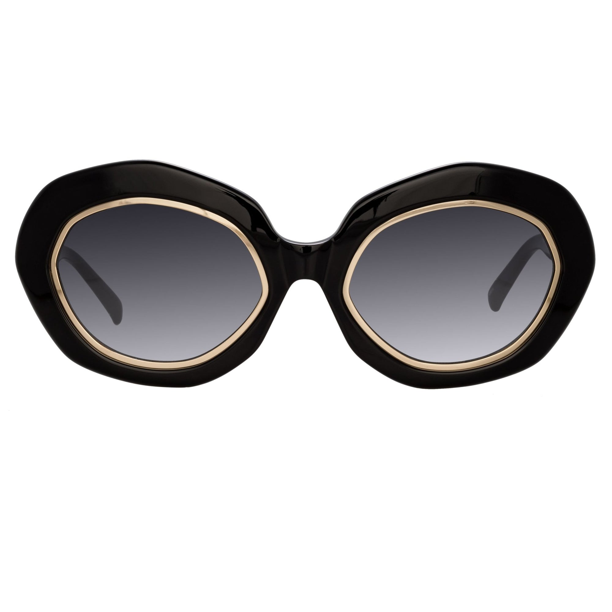 Erdem Women Sunglasses Oversized Black Gold with Grey Graduated Lenses EDM33C3SUN - Watches & Crystals