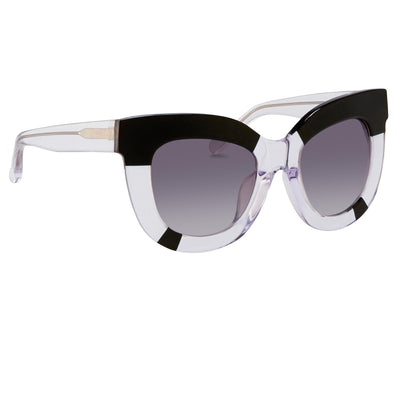 Erdem Women Sunglasses Oversized Clear Black with Grey Graduated Lenses EDM20C1SUN - Watches & Crystals