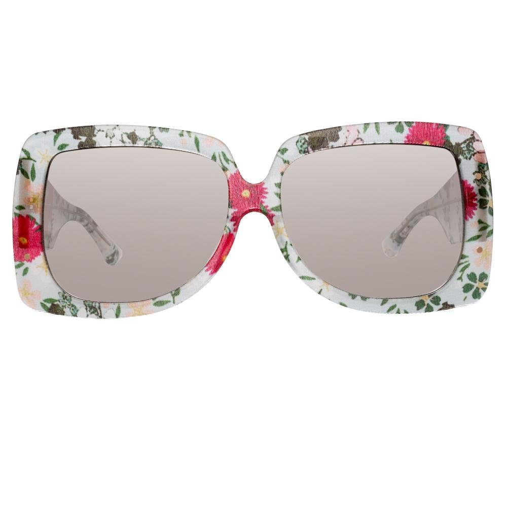 Erdem Women Sunglasses Oversized Floral Blue Rose Gold with Grey Graduated Lenses Category 3 EDM34C5SUN - Watches & Crystals