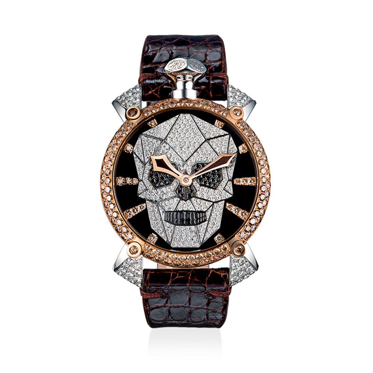 GaGà Milano Manuale 48 Bionic Skull Diamonds Gold - Watches & Crystals