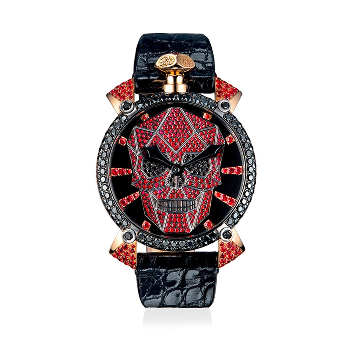 GaGà Milano Manuale 48 Bionic Skull Diamonds Red - Watches & Crystals