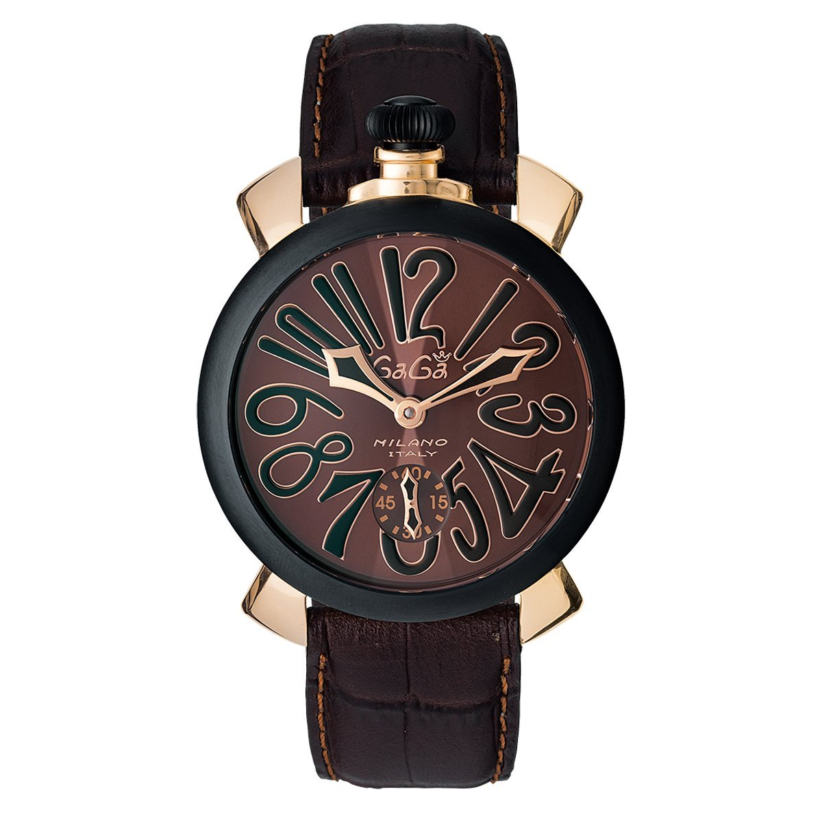 GaGà Milano Manuale 48MM Rose Gold Chocolate - Watches & Crystals