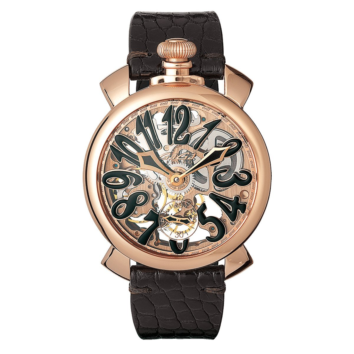 GaGà Milano Skeleton 48MM Rose Gold Black - Watches & Crystals