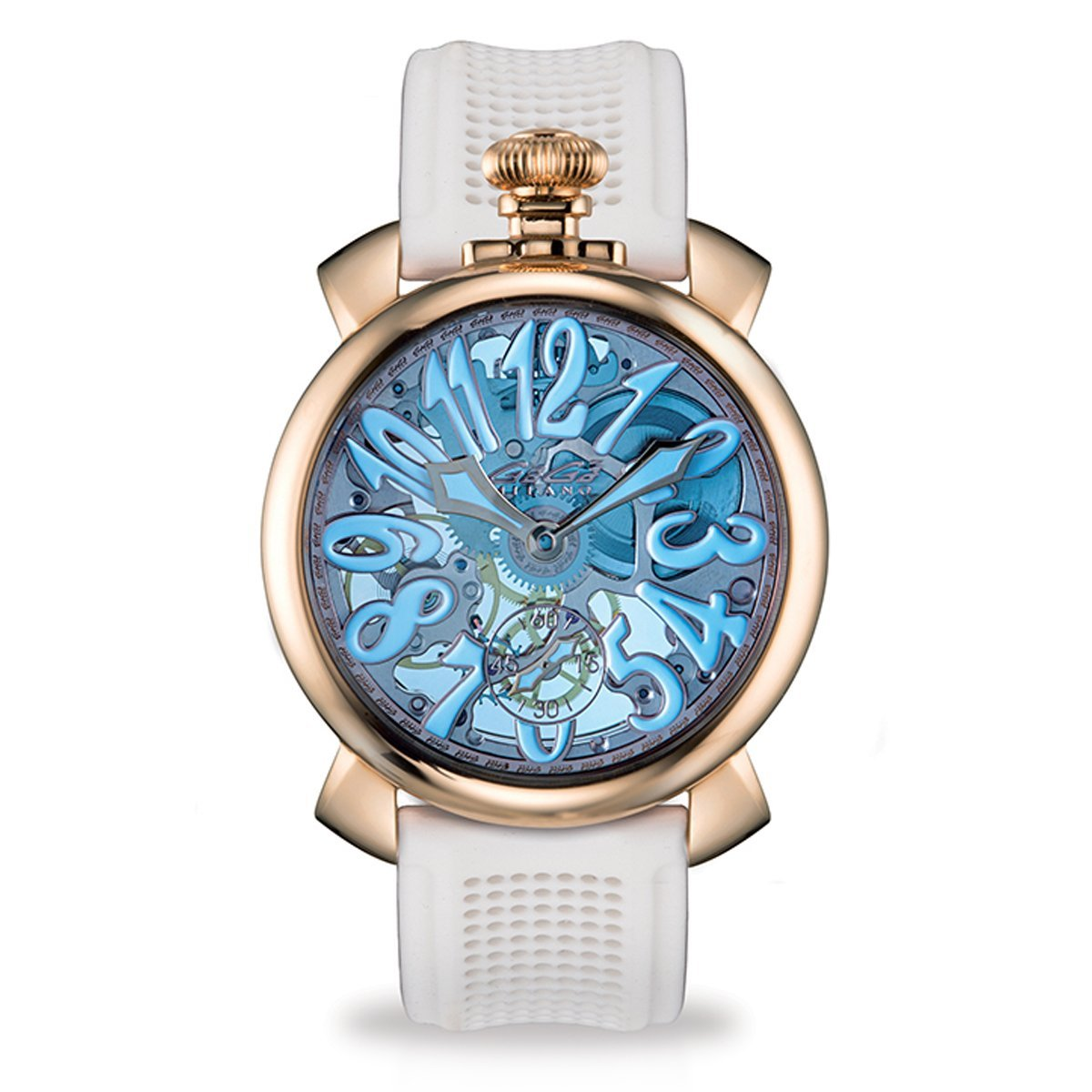 GaGà Milano Skeleton 48MM Rose Gold Blue - Watches & Crystals