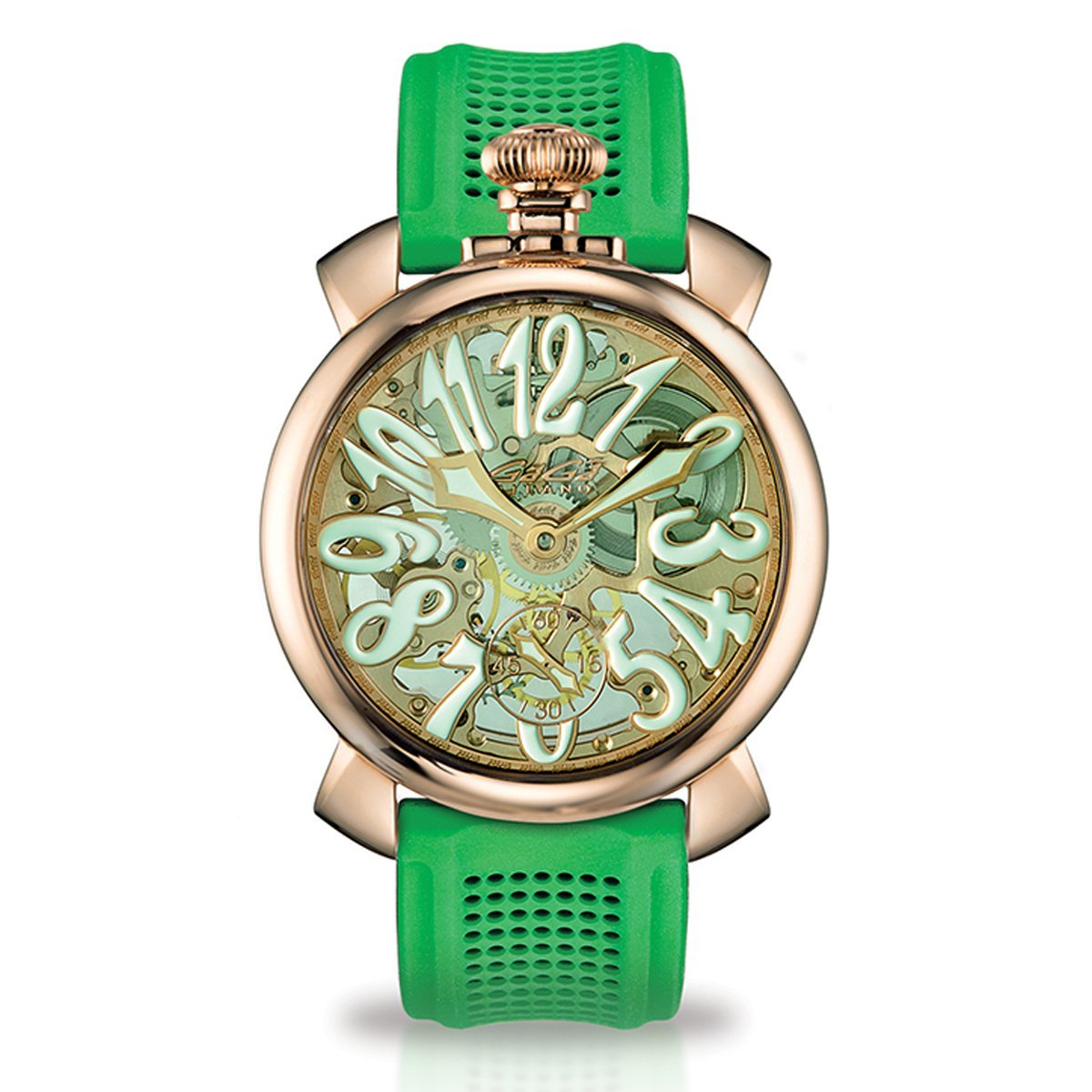 GaGà Milano Skeleton 48MM Rose Gold Green - Watches & Crystals