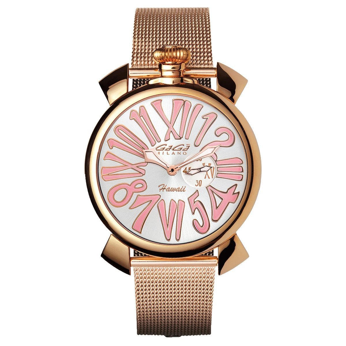 Gaga Milano Slim 46mm Ladies Watch Hawaii Rose Gold - Watches & Crystals