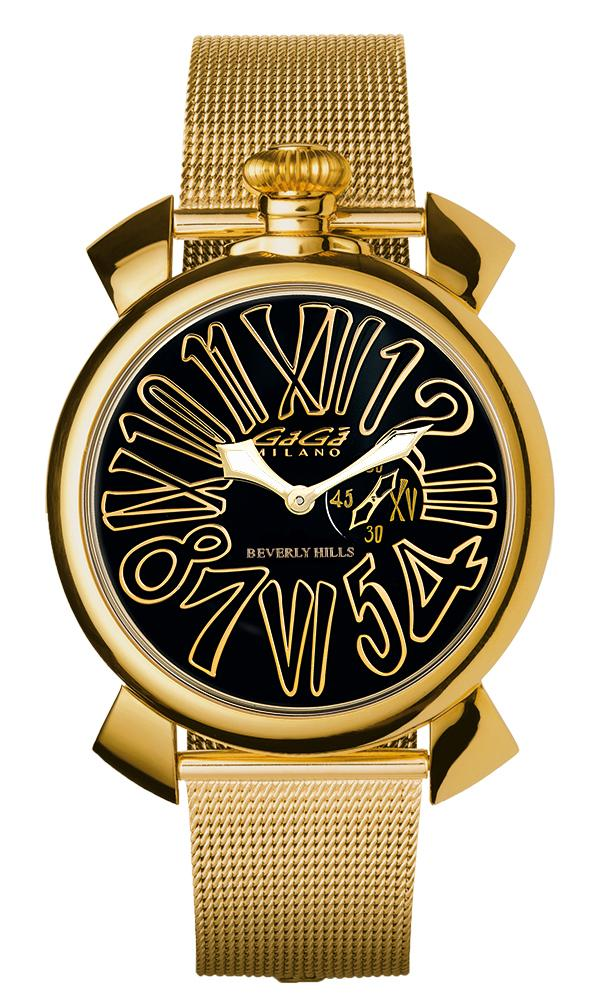 Gaga Milano Slim 46mm Unisex Watch Beverly Hills Yellow Gold - Watches & Crystals