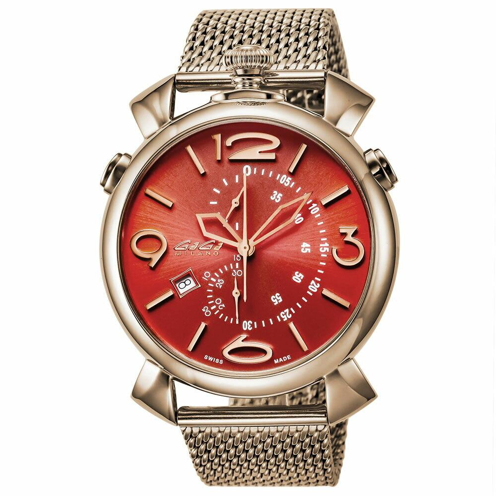 GaGà Milano Thin Chrono 46MM Unisex Watch Red Dial Rose Gold - Watches & Crystals