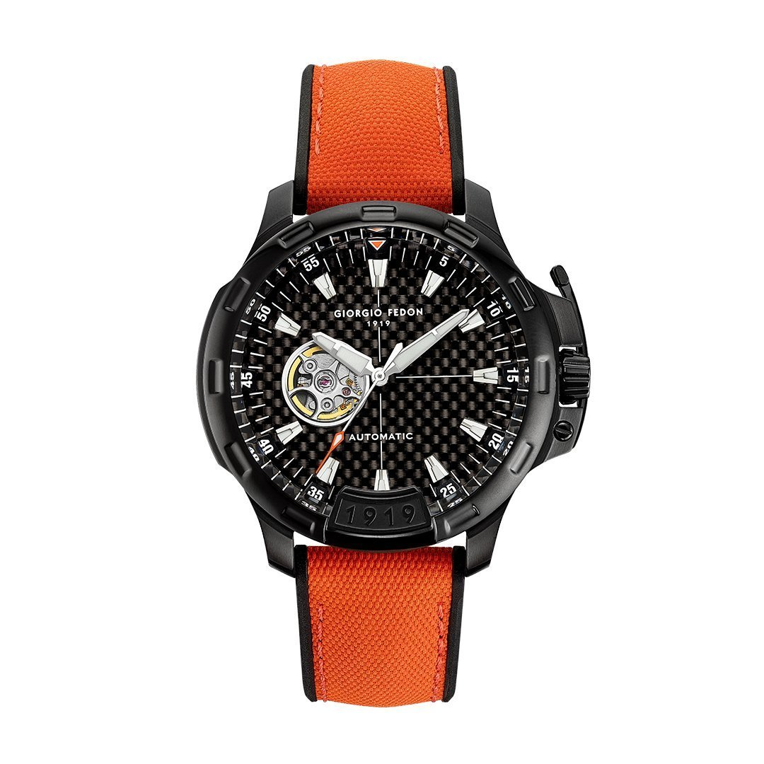 Giorgio Fedon Timeless IX Black PVD Orange - Watches & Crystals