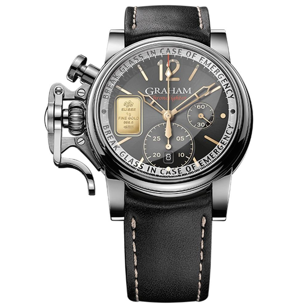 Graham Chronofighter Vintage Black Emergency Gold Limited Editions - Watches & Crystals