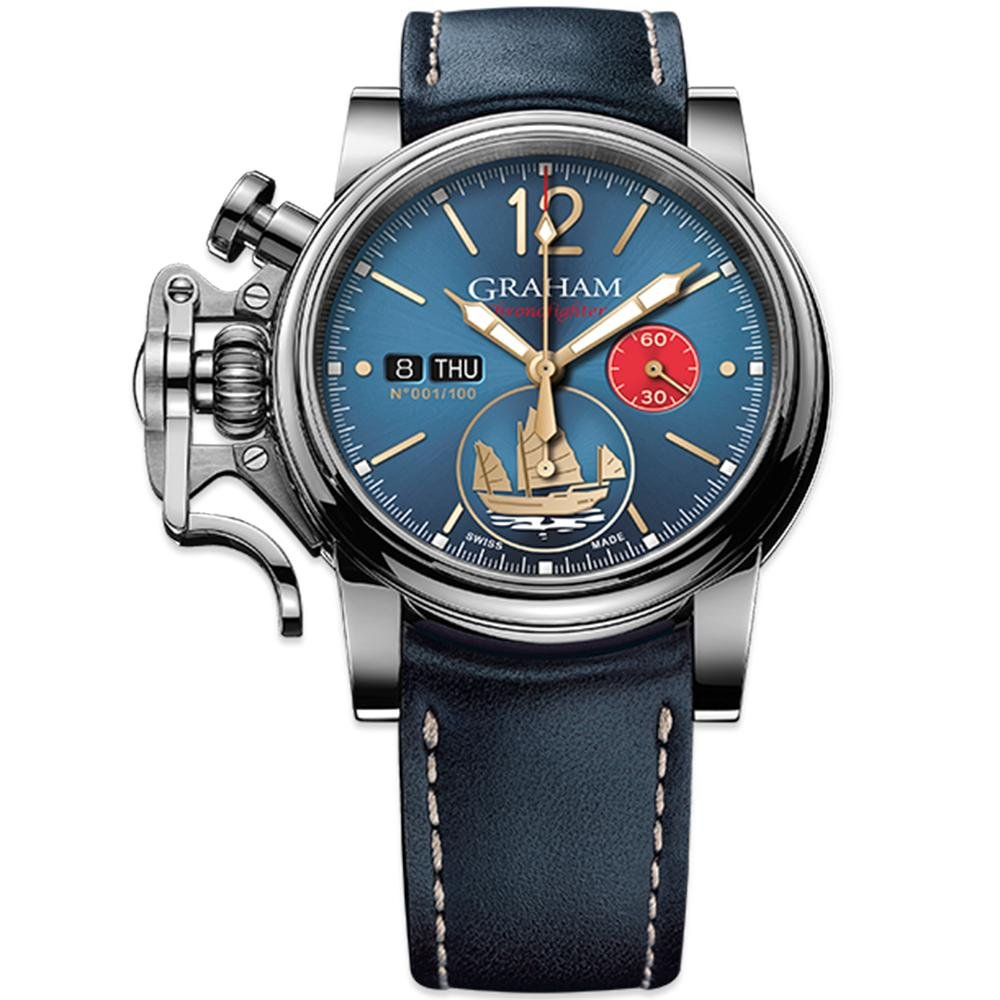 Graham Chronofighter Vintage Blue Golden Junk Limited Editions - Watches & Crystals