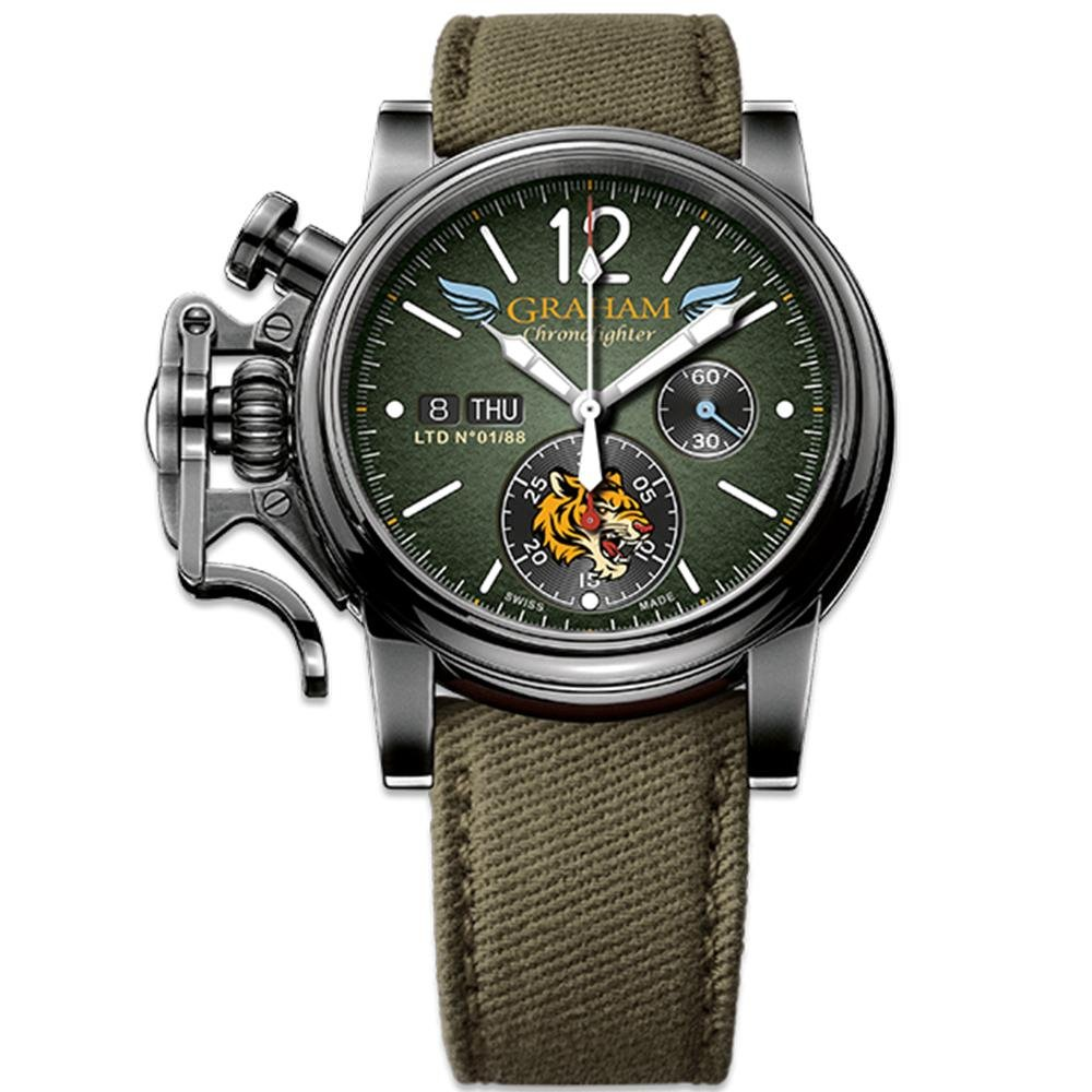 Graham Chronofighter Vintage Green Flying Tigers Limited Editions - Watches & Crystals