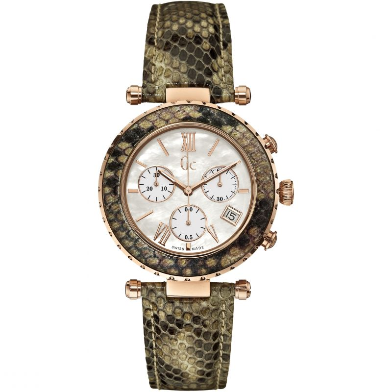 Guess Collection Diver Chic Ladies Chronograph Watch Snakeskin - Watches & Crystals