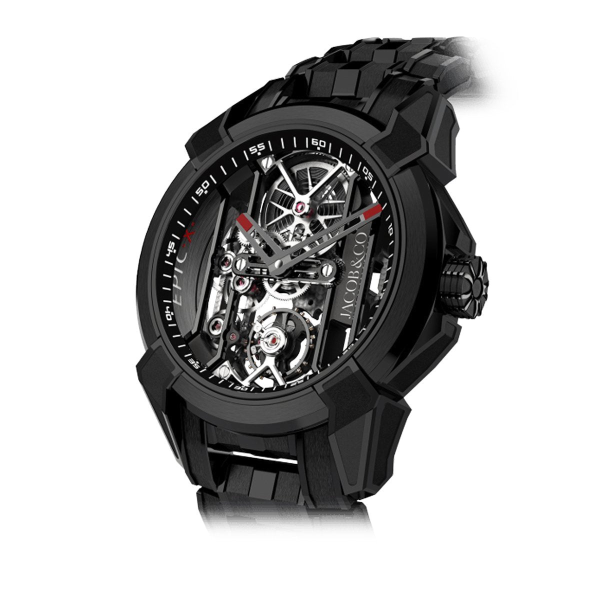 Jacob & Co. Epic X Skeleton Black DLC Bracelet Black - Watches & Crystals