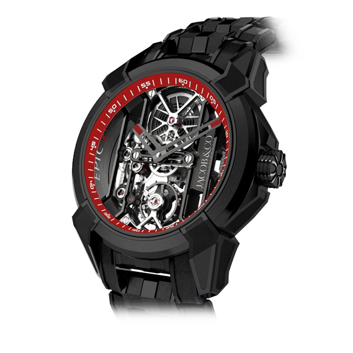 Jacob & Co. Epic X Skeleton Black DLC Bracelet Red - Watches & Crystals