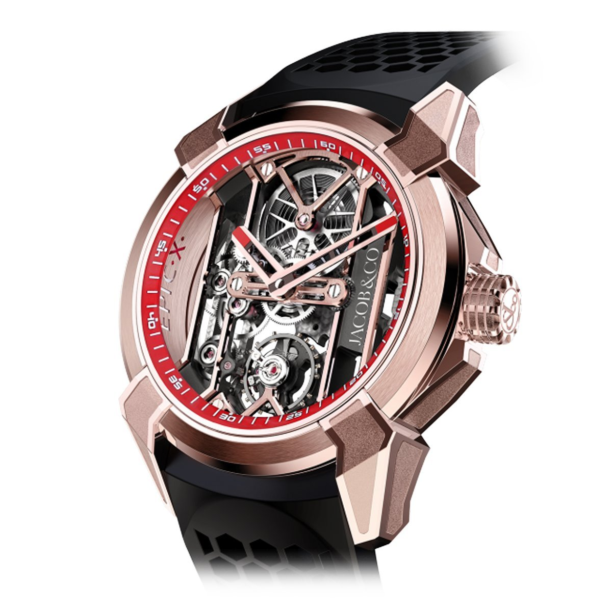 Jacob & Co. Epic X Skeleton Rose Gold Red - Watches & Crystals
