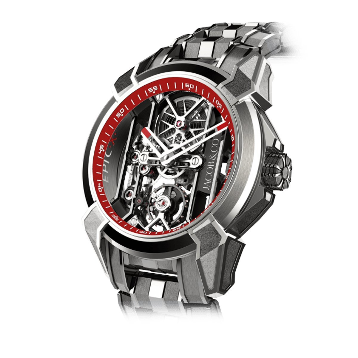 Jacob & Co. Epic X Skeleton Titanium Bracelet Red - Watches & Crystals