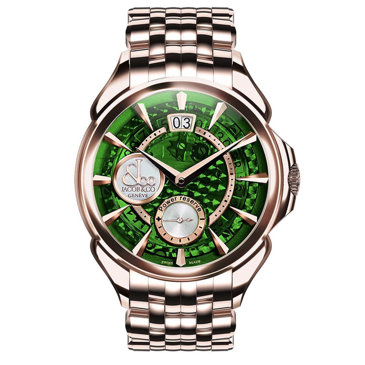 Jacob & Co. Palatial Classic Manual Big Date Green Rose Gold - Watches & Crystals