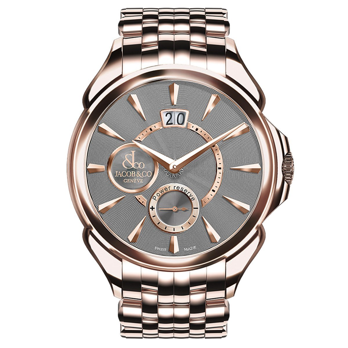 Jacob & Co. Palatial Classic Manual Big Date Grey Rose Gold - Watches & Crystals