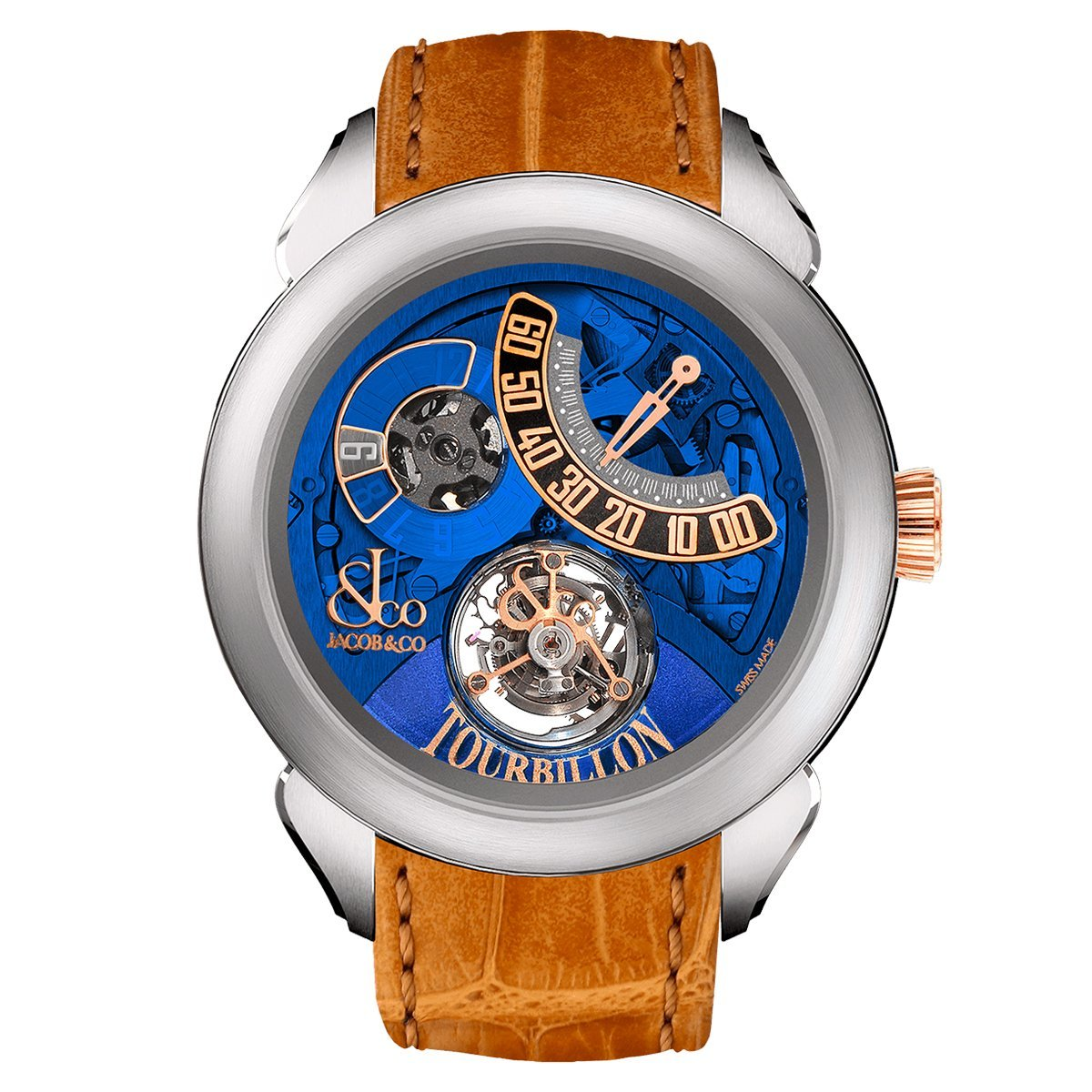 Jacob & Co. Palatial Flying Tourbillon Jumping Hour Titanium Blue Mineral - Watches & Crystals
