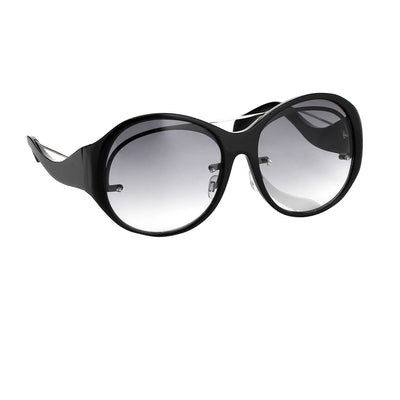 Jens Laugesen Women Sunglasses Oversized Transparent Black Silver With Grey Graduated Lenses 9JL1C2BLACK - Watches & Crystals