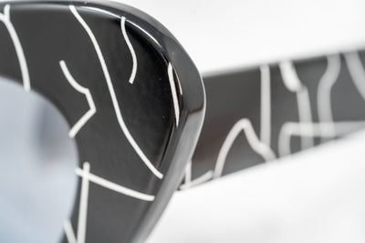 Jeremy Scott Sunglasses Cat Eye Black Lightning Print With Silver Category 3 Mirror Lenses JSCATEYEC1SUN - Watches & Crystals