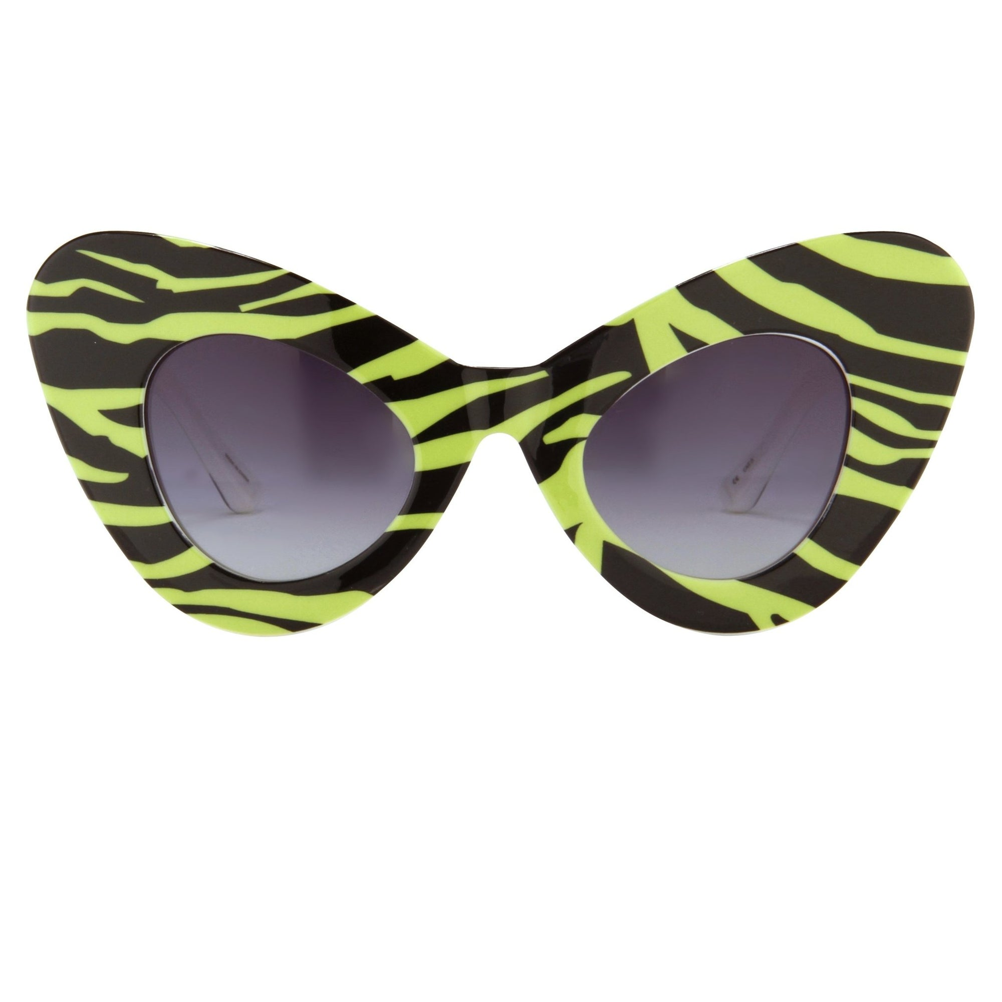 Jeremy Scott Sunglasses Cat Eye Green Zebra Prints With Grey Category 3 Graduated Lenses JSCATEYEC4SUN - Watches & Crystals