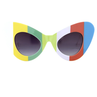 Jeremy Scott Sunglasses Cat Eye Multicoloured Bars With Grey Category 3 Graduated Lenses JSCATEYEC2SUN - Watches & Crystals